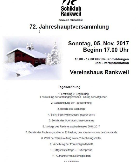 72. Jahreshauptversammlung am 05.11.2017 um 17:00 im Vereinshaus Rankweil